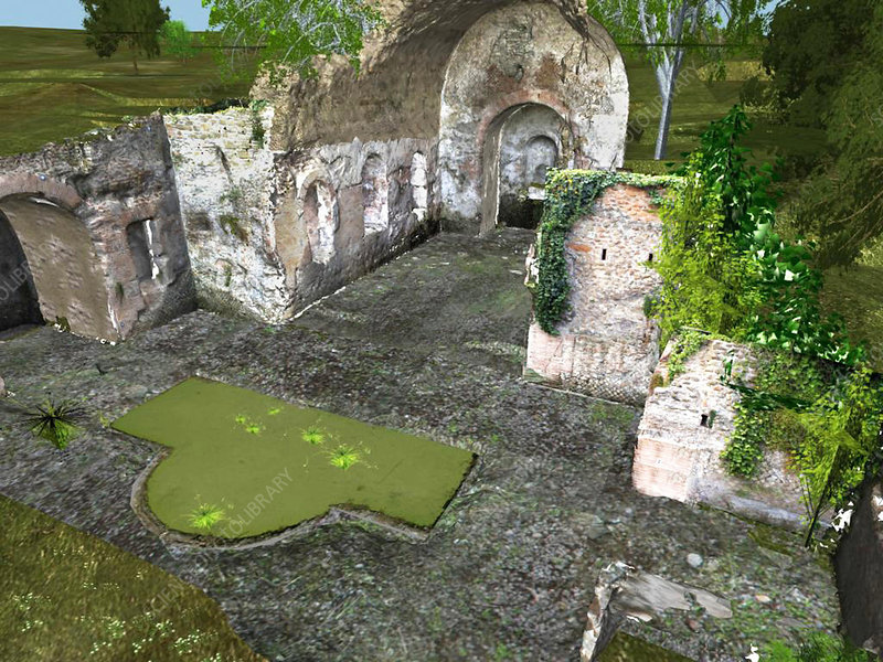 Roman temple, virtual reality display