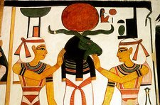 Wall painting in tomb of Queen Nefertari