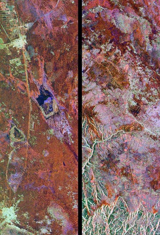 Great wall of China, satellite image