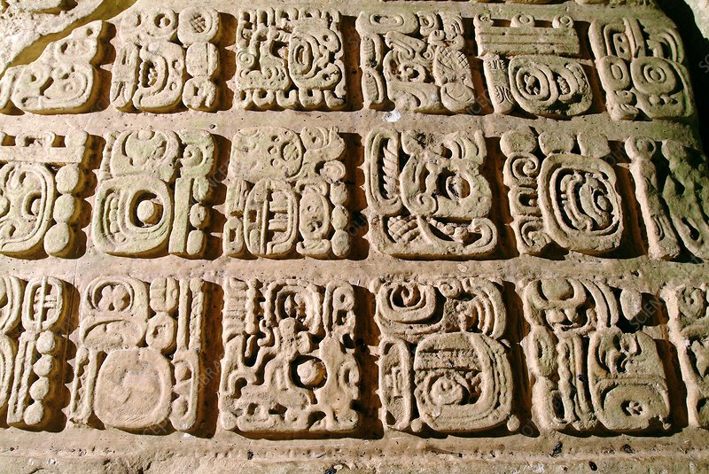 Mayan stone carving stock image e  science