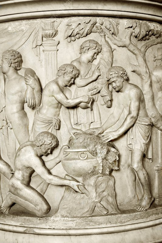 Romans cooking, detail from urn