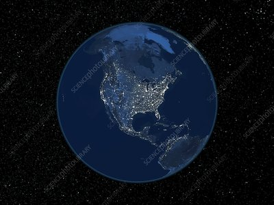 North America at night, satellite image