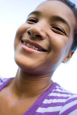 Girl wearing dental braces