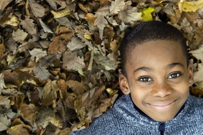 Smiling boy lying on autumn leaves