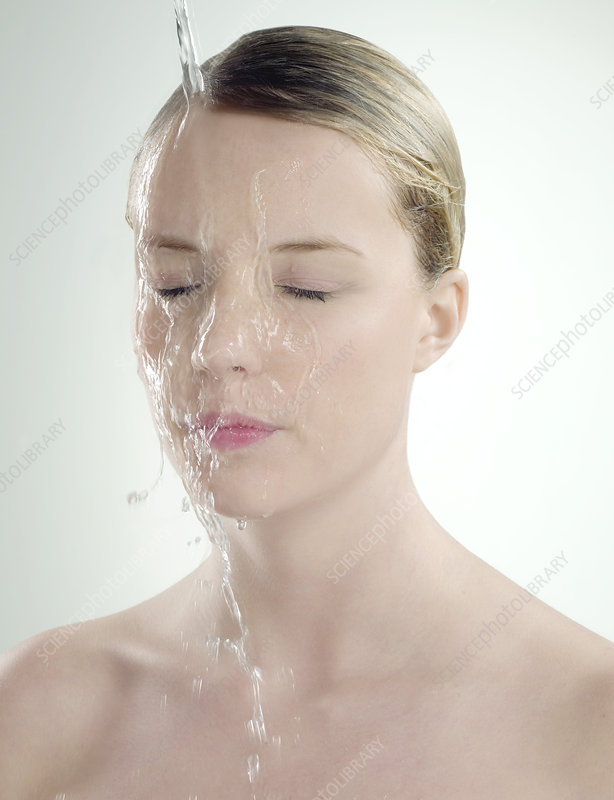 Woman with wet skin