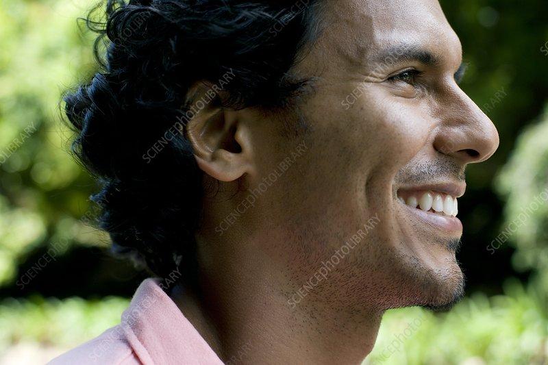 Smiling Man Face Profile