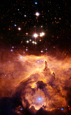 Star cluster Pismis 24 above NGC 6357