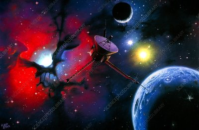 Artwork of a space probe approaching Trifid nebula