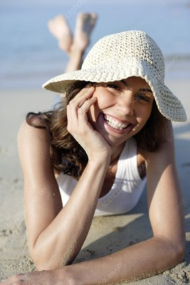 Woman wearing a sunhat