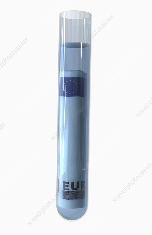 Test tube and 20 euro dollars