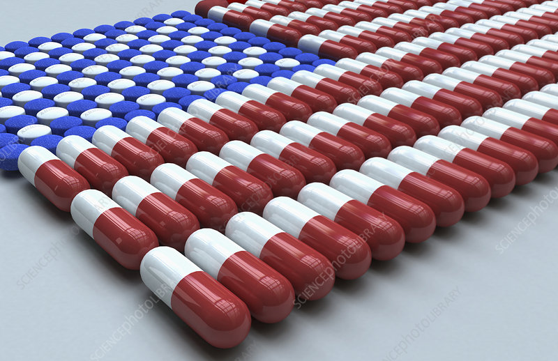 Multiple pills forming the flag of the USA