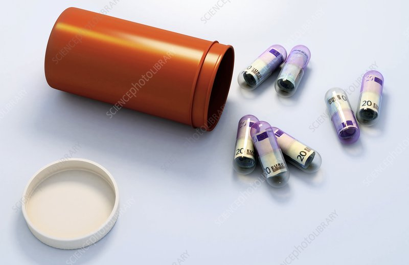 Pills spilling out of container