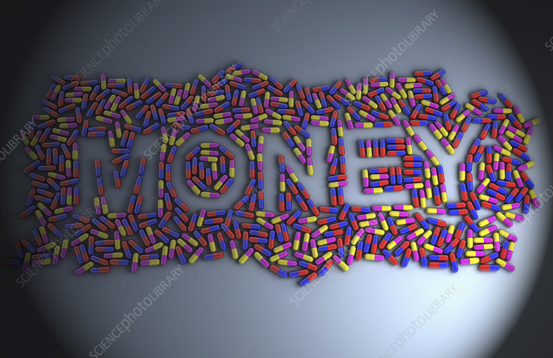 Multiple pills which are forming the word 'Money'