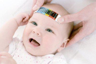 Measuring a baby's temperature