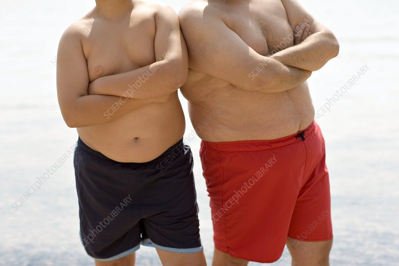 Overweight boy and man