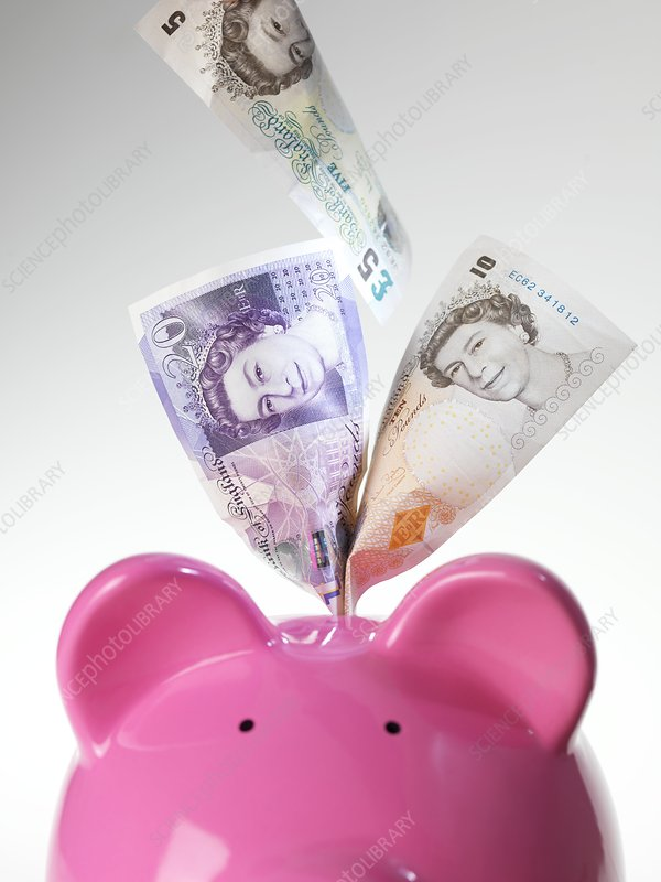 Piggy bank and British pounds