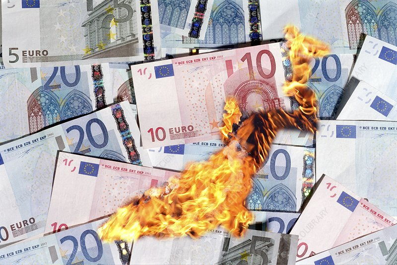 Burning money, conceptual image