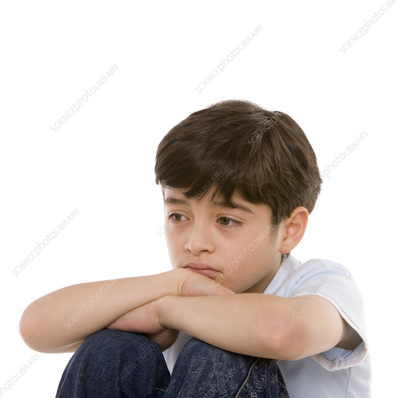 Sad boy f002 7767 royalty free credit science photo library caption