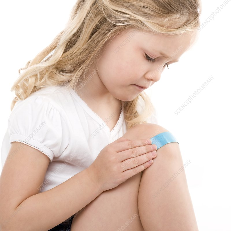 Plaster on a girl's knee