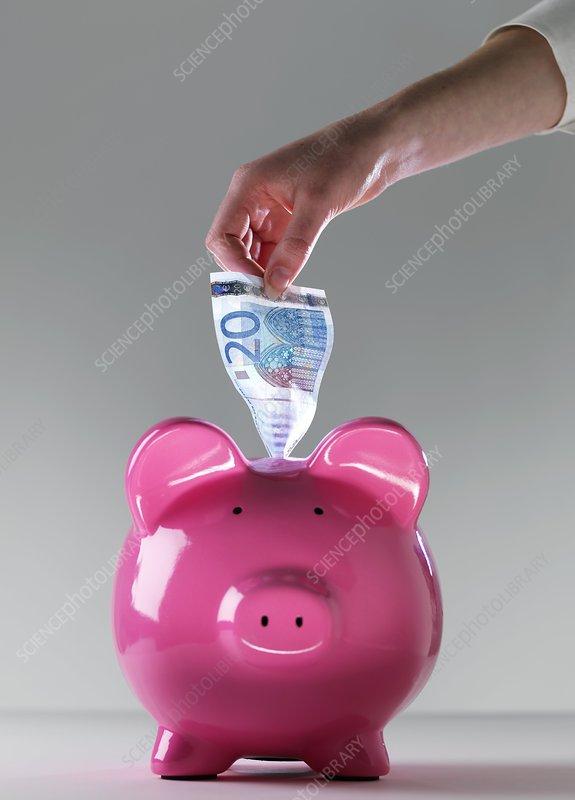 Piggy bank with euros