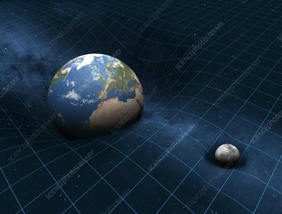 Earth and Moon warping space, artwork