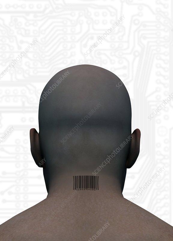 Barcoded man, artwork
