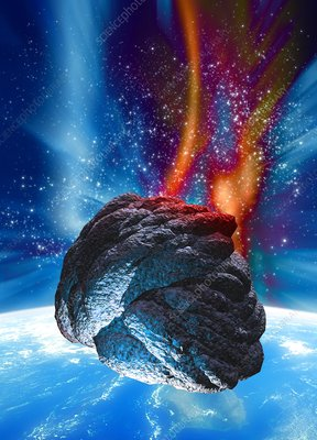 Meteor approaching Earth, artwork