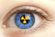 Eye with radiation warning sign