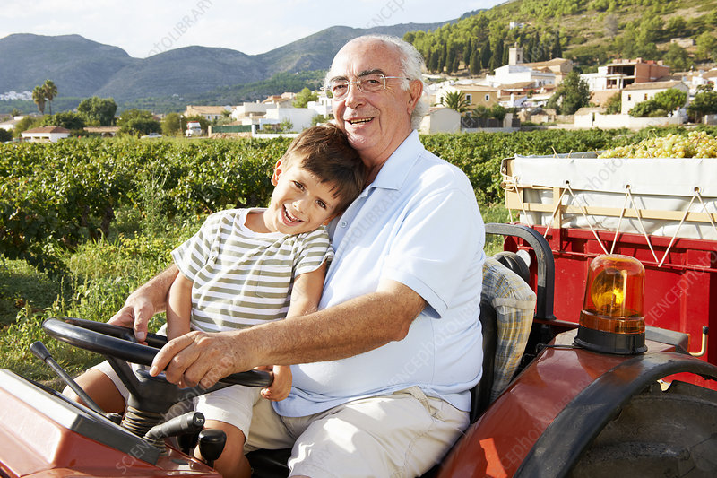 Grandfather and boy sitting on tractor