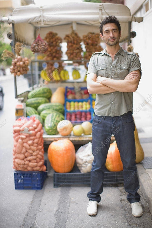 Man standing at market stall