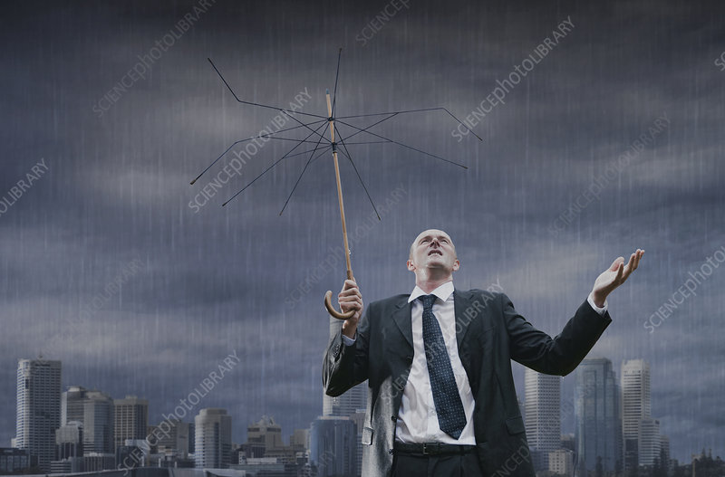 Businessman in the Rain