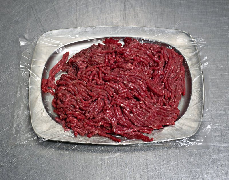 A steel plate of minced meat