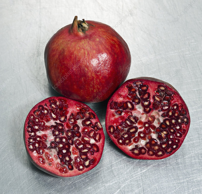 Pomegranates on a steel surface