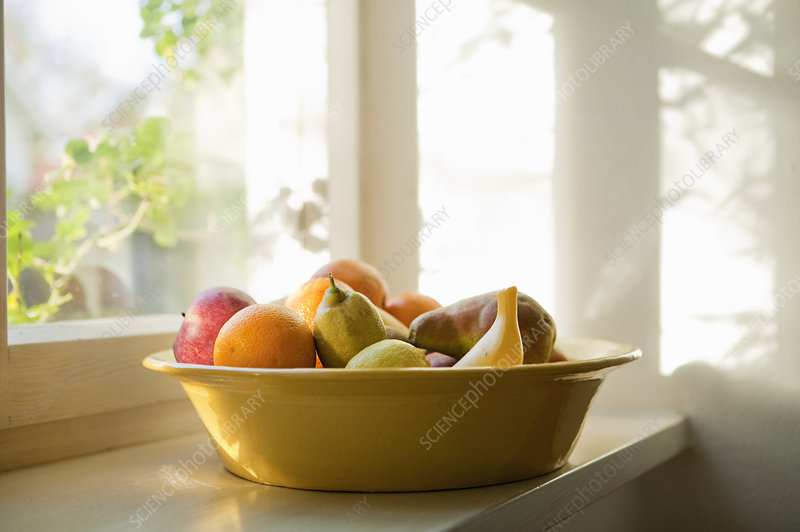 Fruit basket on a windowsill
