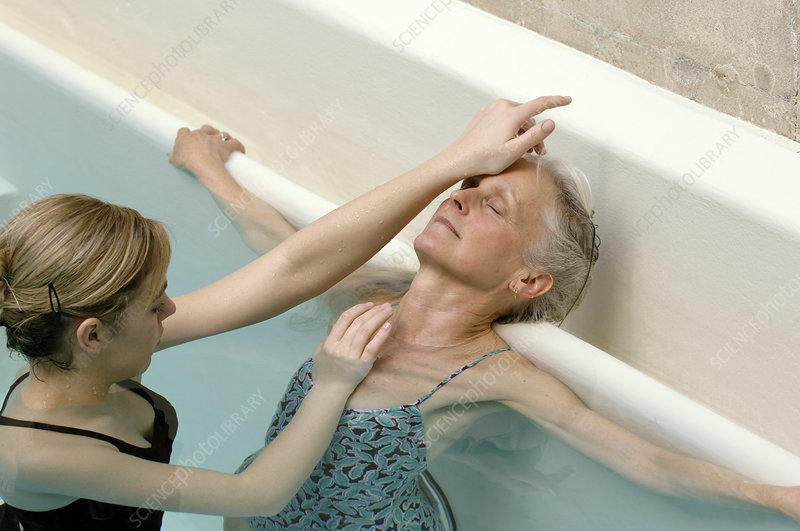 Older woman receiving water massage