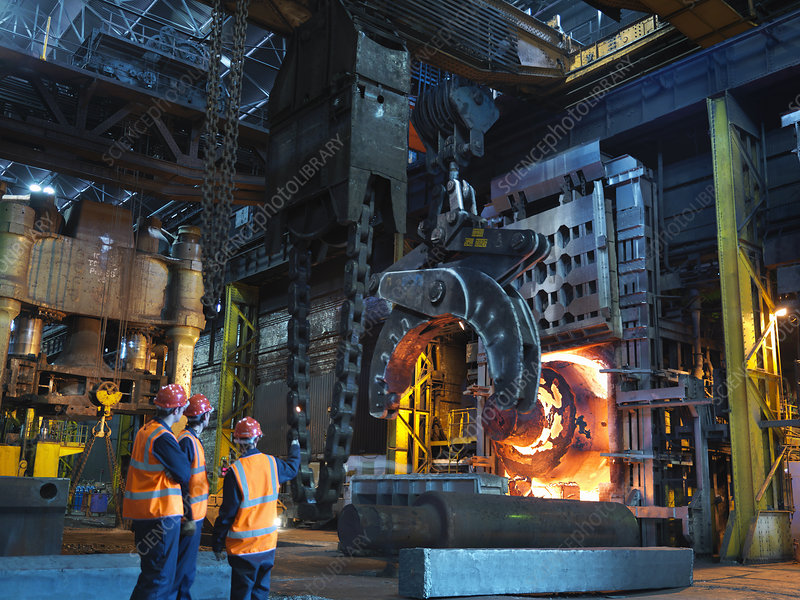 Engineers & Hot Steel In Forging Machine