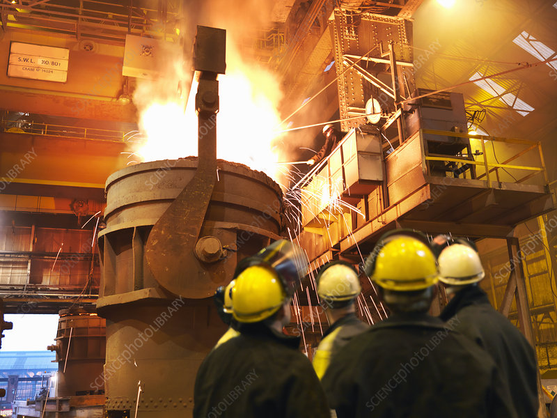 Steel Workers Pouring Molten Steel