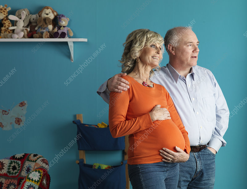 Pregnant older woman with male partner