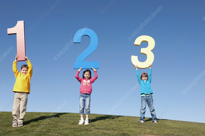Group of Children Holding Giant Numbers