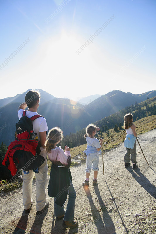 Family hiking on Mountain,