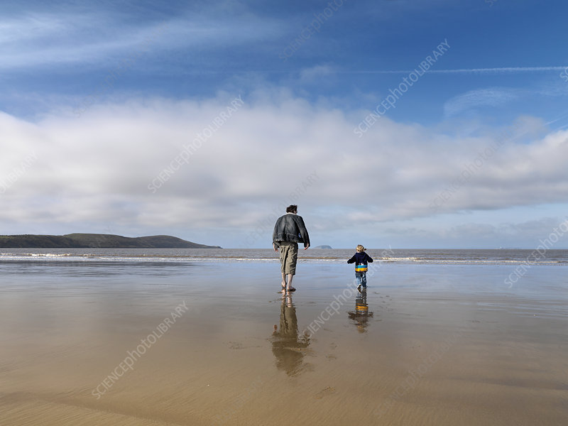 man and child walking towards sea