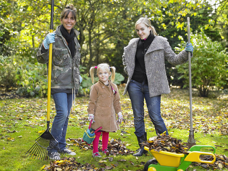 Grandmother, mother and daughter, garden