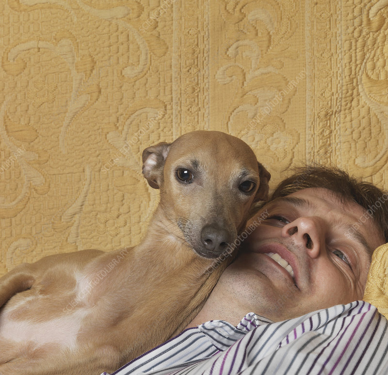 Dog and man cuddling