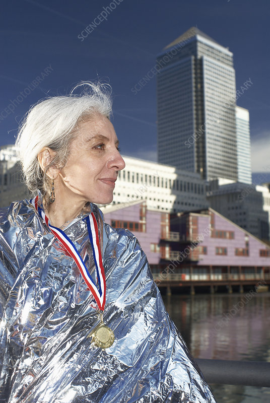 mature lady with medal