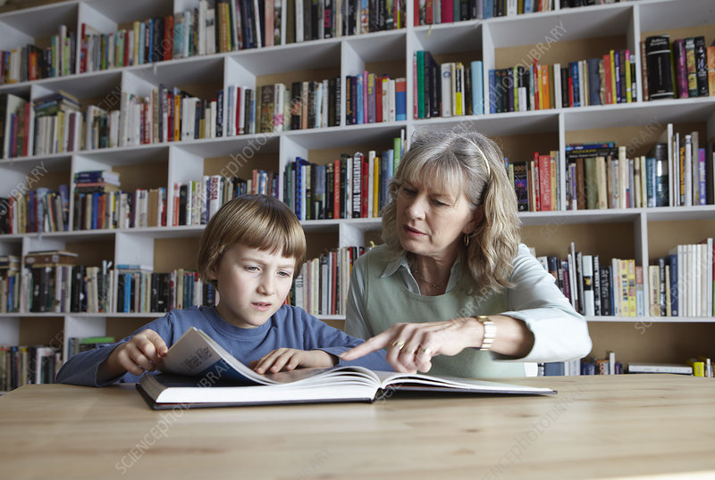 Woman and grandson reading together