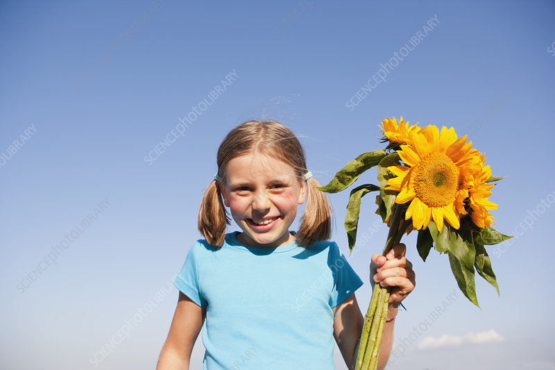 Young Girl With Sunflower Spray