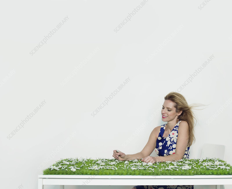 A woman sitting at a grass covered desk