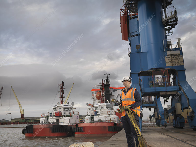 Port Worker With Ships