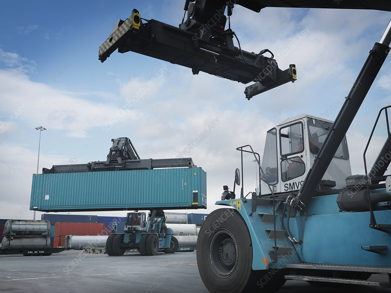 Fork Lifts Moving Shipping Containers