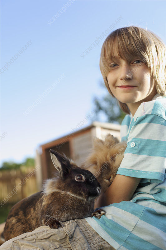 Boy playing with rabbit in garden
